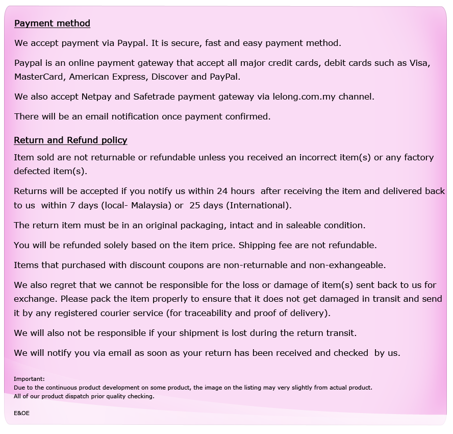 Payment, Return and Refund Policy
