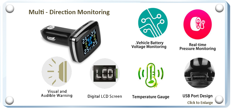 BLE TPMS TP-620 LCD Display - Multi Direction Monitoring