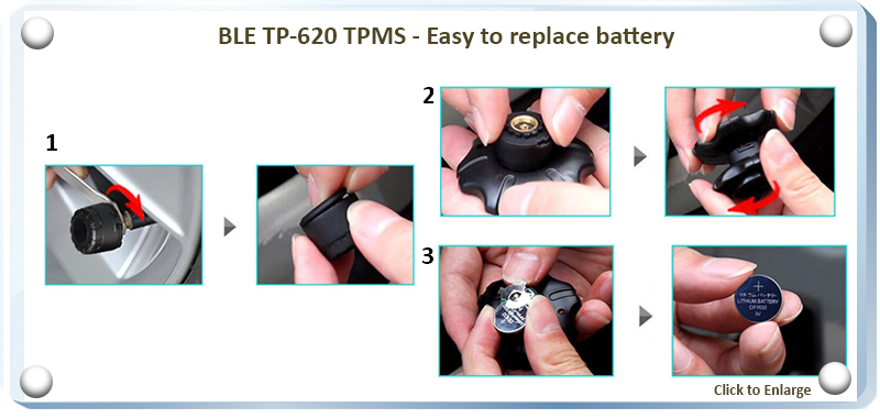 BLE TPMS TP-620 LCD Display - Battery Replacement