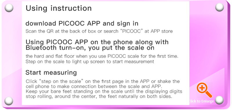 PICOOC MINI Intelligent Body Fat Scale Bluetooth-enabled with Apps