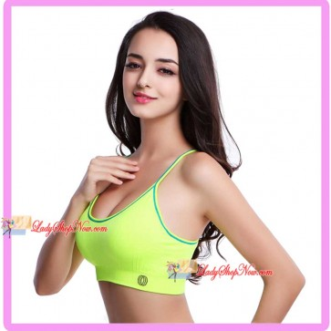 Seamless Racer-Back Y style Supportive Sport Bra Yellow M Size