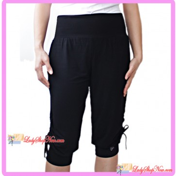 Loose Fit Capri Sport Pants Side Drawstring Black