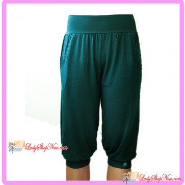 Loose Fit Capri Sport Pants Teal Green
