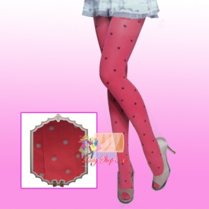 Red Color Legging With Printed Polka Dot - 280D - Limited Unit