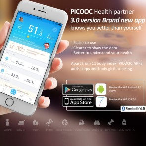 PICOOC S1 PRO Smart & Toughened Body Fat Weighing Scale + App - White Colour