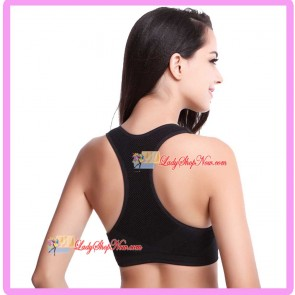 Seamless Racer-Back H style Supportive Sport Bra Black L Size