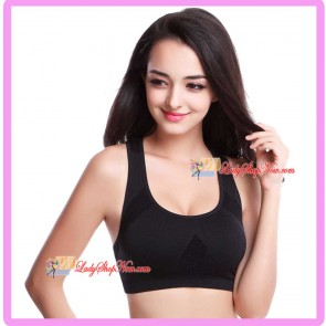 Seamless Racer-Back H style Supportive Sport Bra Black M Size